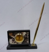 Визитница с часами и ручкой яшма (родонит)