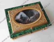 Шкатулка малахит с декоративным панно